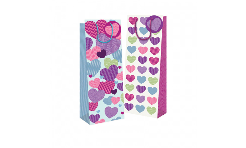 Just to Say Hearts Gift Bag, Rope Handles & Tag Bottle - H 360 x W 120 x D82 mm