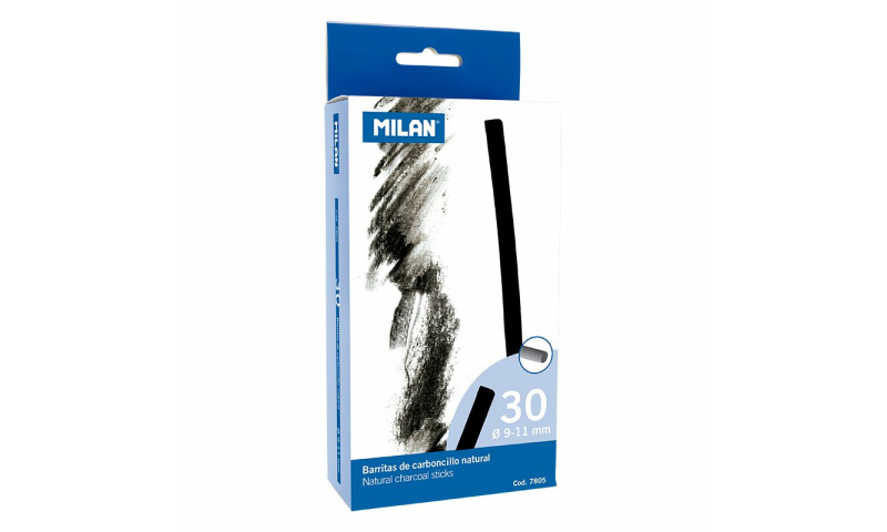 Milan Charcoal sticks 9-10mm Pack of 30