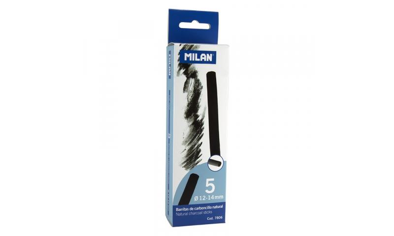 Milan Charcoal sticks 12-14mm Pack of 5 Sticks