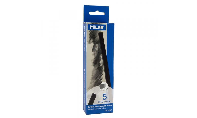 Milan Charcoal sticks 10x10mm Pack of 5 Square Sticks