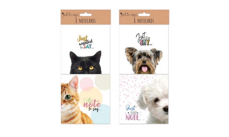 Just to Say Cats & Dogs 8 Pack Square Notecards