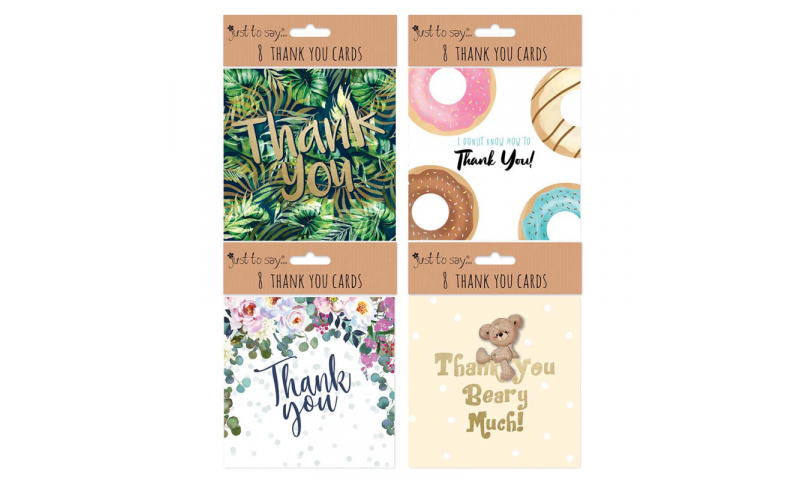 Just to Say Themed 4 asstd, 8 Pack Square Thank You Cards