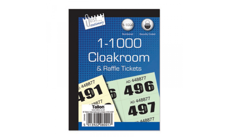 Just Stationery Cloakroom / Raffle Tickets 1-1000 duplicate
