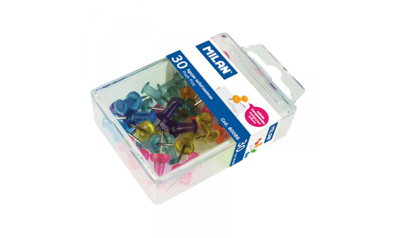 Milan Box with 30 Translucent push pins, asstd cols