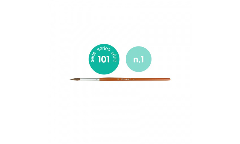Milan 101 Series Paint Brush, Cylindrical Pony Hair, School grade. Ideal for Watercolour & Poster work. Size 1, 2.2mm