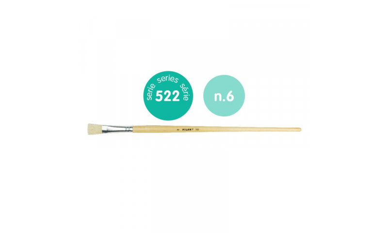 Milan 522/6 Chungking Bristle Brush, Flat Shape. Very Firm & Solid. Ideal for Acrylic, Oil and thick textured painting plus Varnishing. 10.5mm