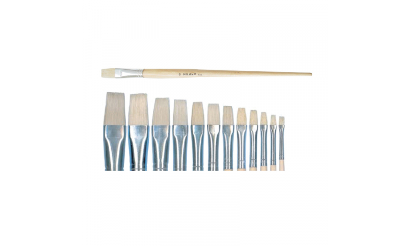 Milan 522/10 Chungking Bristle Brush, Flat Shape. Very Firm & Solid. Ideal for Acrylic, Oil and thick textured painting plus Varnishing. 17.4 mm
