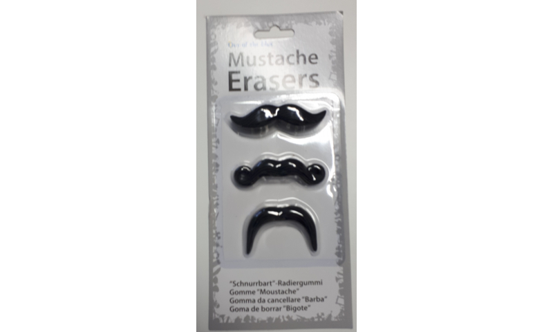 Novelty Moustache 3pk Erasers (New Lower Price for 2021)