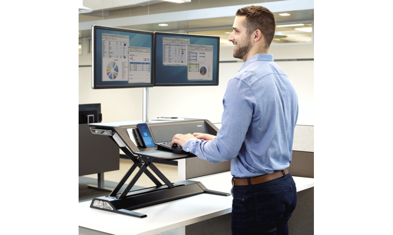 Fellowes Lotus™ DX Microban® Protection Sit-Stand Workstation - Black