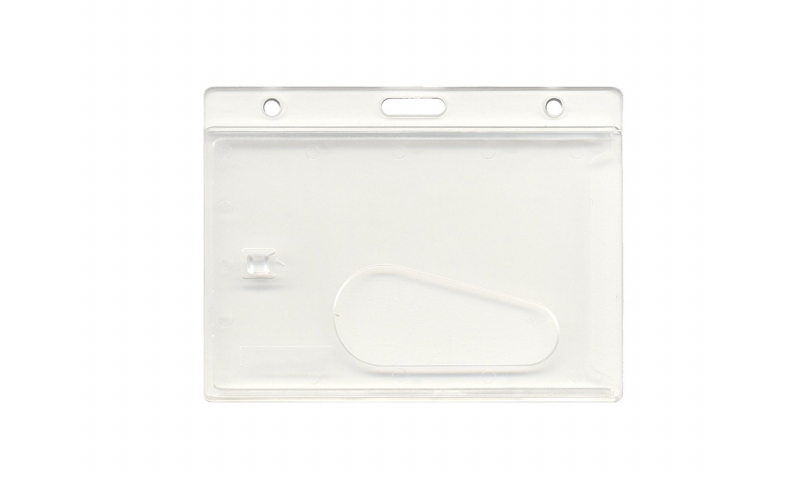 Clear Enclosed, Credit Card Size ID Holder For Lanyards