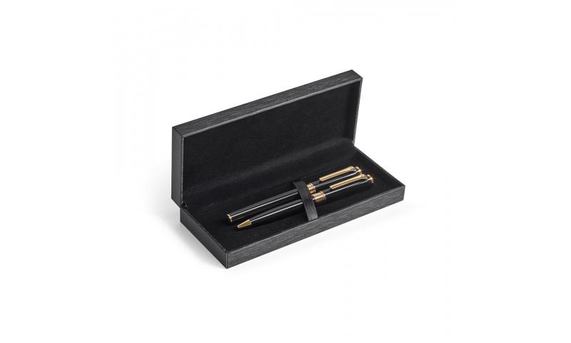 VERSAILLES Roller Pen and Ballpen Set in Metal - Black Ink - 18 carat gold-plated