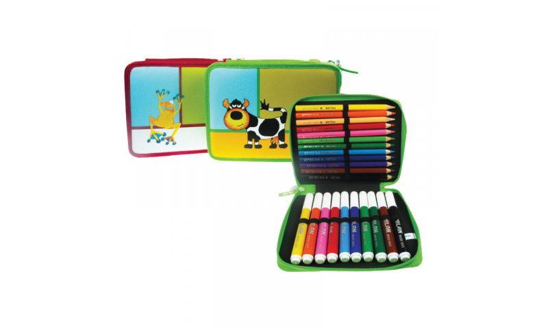 Single Decker Nylon Zipped Case, 24 Jumbo Coloured Pencils & Fibrepens