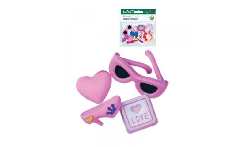 Linex Novelty Girls Erasers 10 pk asstd