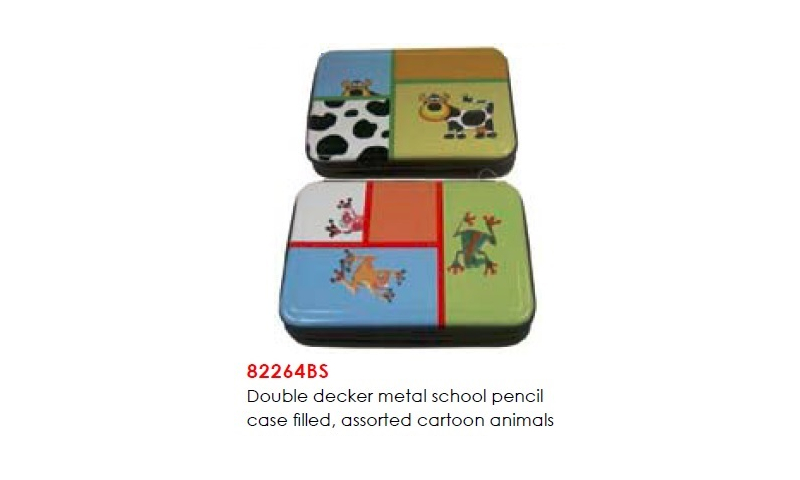 Milan Double Decker Metal School pencil case filled, assorted cartoon animals: (New Lower Price for 2021)