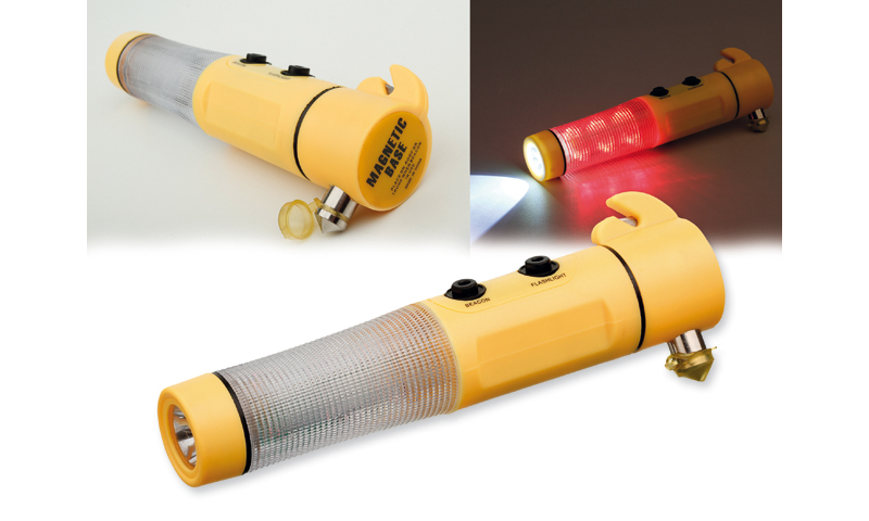 FLASHMER Branded Plastic Emergency Hammer with magnet, Safety Belt Cutter for Car and Flash Light.