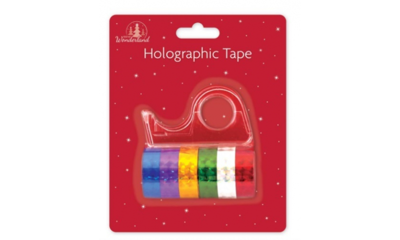 Xmas Holographic Tape, 6 Rolls with Dispenser, carded (New Lower Price for 2021)