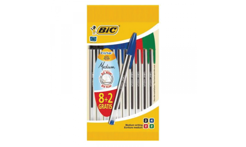 BIC Crystal Medium Ballpens - 10 Pack carded  (New Lower Price for 2021)