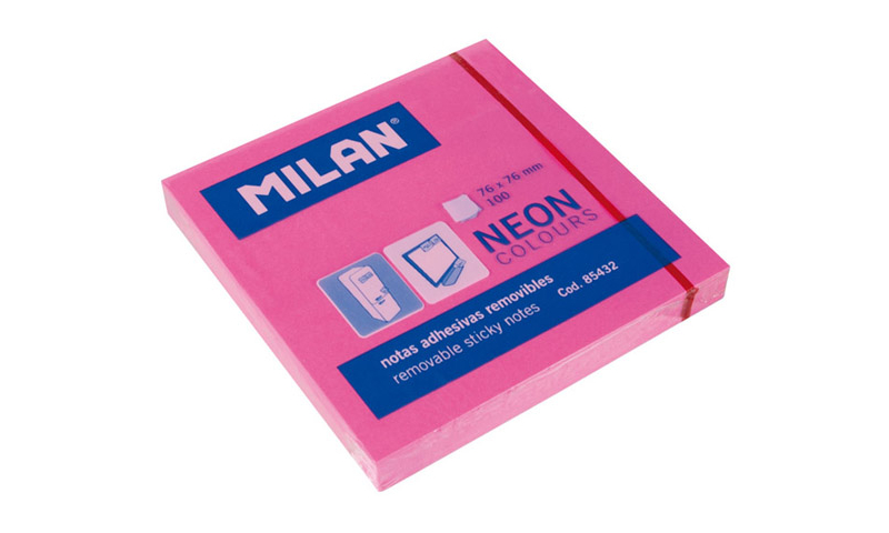 Milan Neon Removable adhesive notes. 100 Sheets in 4 Neon Colours (New Lower Price for 2021)