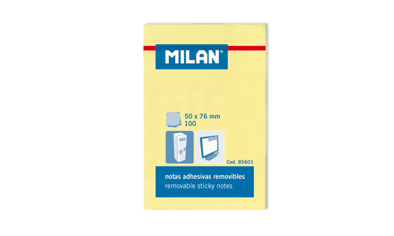"""Milan Removable Sticky Notes 3 x 2"""" 100 sheets, Yellow"""