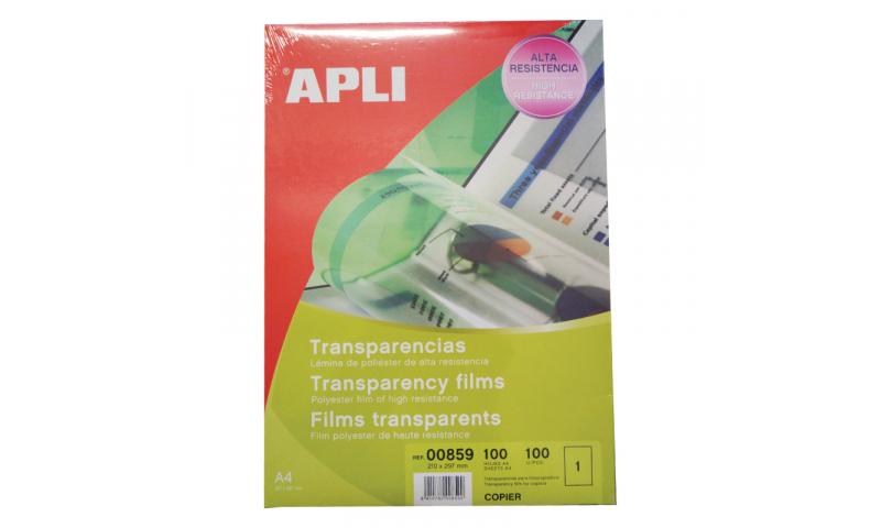Apli A4 Clear Copier Transparencies 100 Sheet Pack - Single Feed