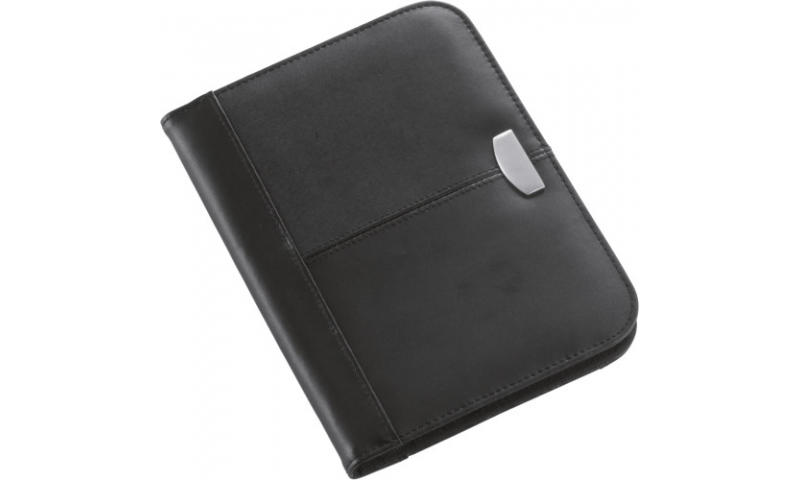 Santini A5 Bonded Leather Conference Folder with Pad & Zip Around, Black
