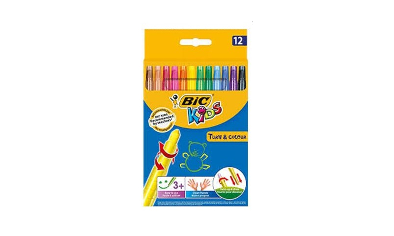 BIC Kids Turn & Colour Twistable Crayons 12pk (New Lower Price for 2021)