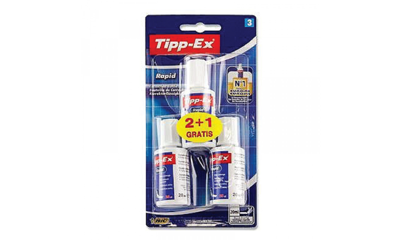 Tippex Rapid Correction Fluid 3 Pk Carded (New Lower Price for 2021)