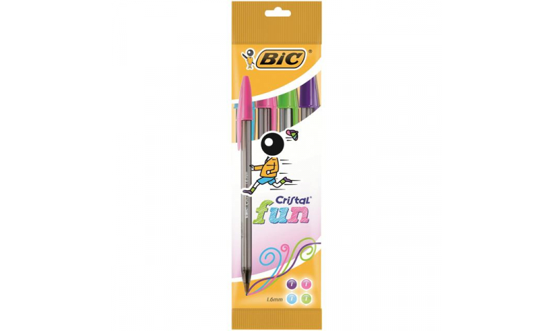 BIC Cristal Fun, 4 Pack, Carded