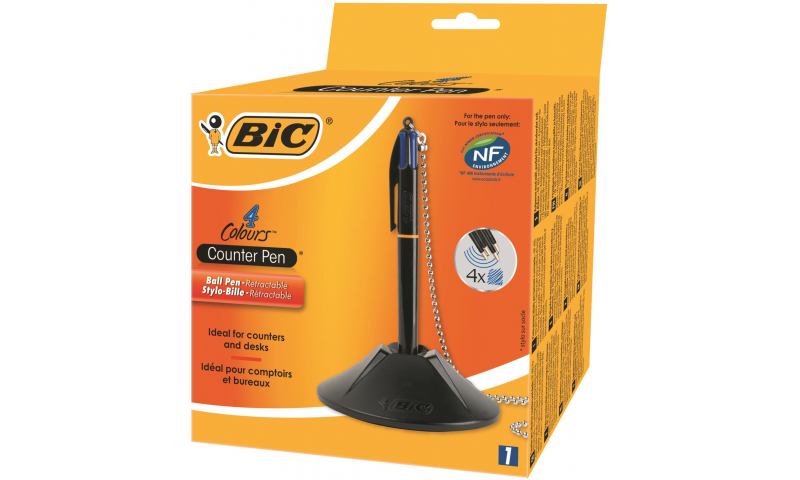 BIC Desk Counter Unit & chain including 4 Colour Pen (New Lower Price for 2021)