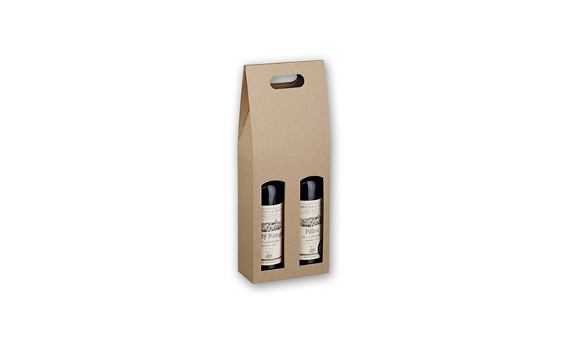 DOUBLE BOX Branded Paper Gift Box for Two Wine Bottles