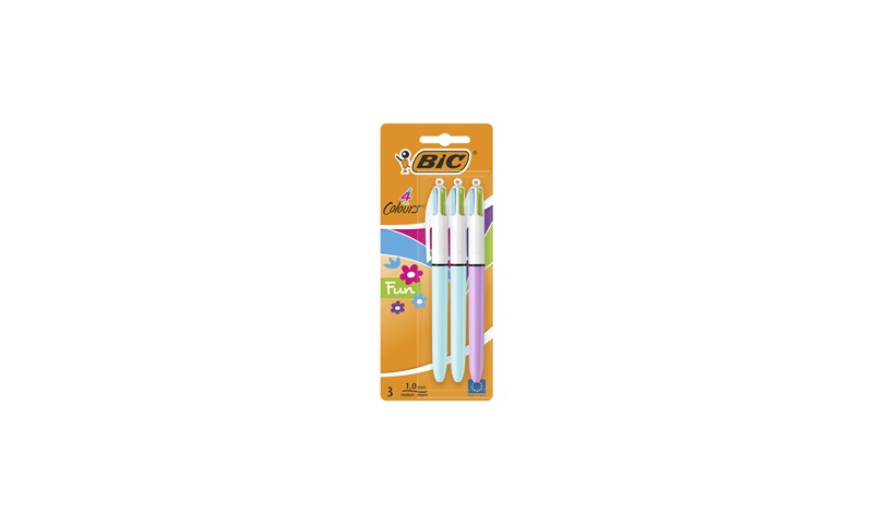 BIC 4 Colour Pen, Fashion Pastel 3 Pack carded (New Lower Price for 2021)