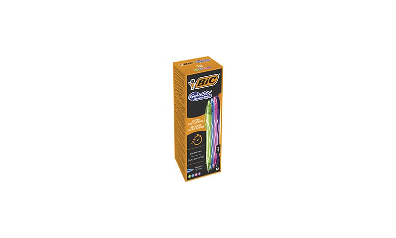 BIC Gelocity Quick Dry Gel Pen 4 Asstd, Box of 12 (New Lower Price for 2021)