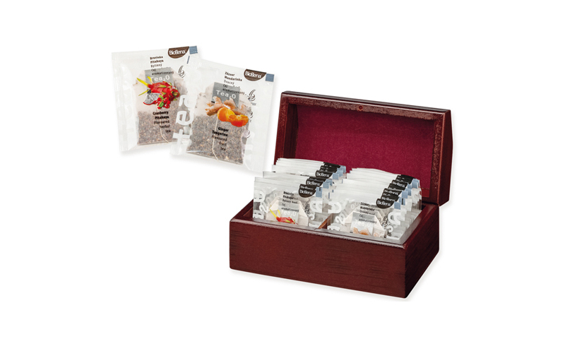 KENDRA Branded Set of Tea Bgas in wooden Gift Box