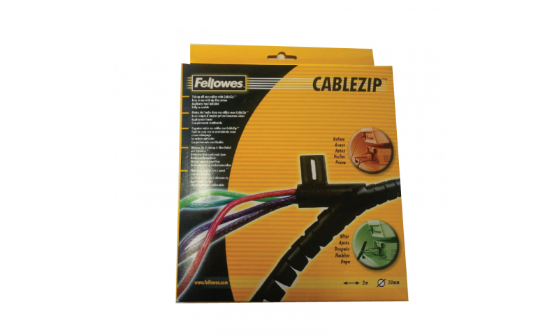 Fellowes Cable Zip, 2M Cable Organiser, 3 colour options(New Lower Price for 2021)