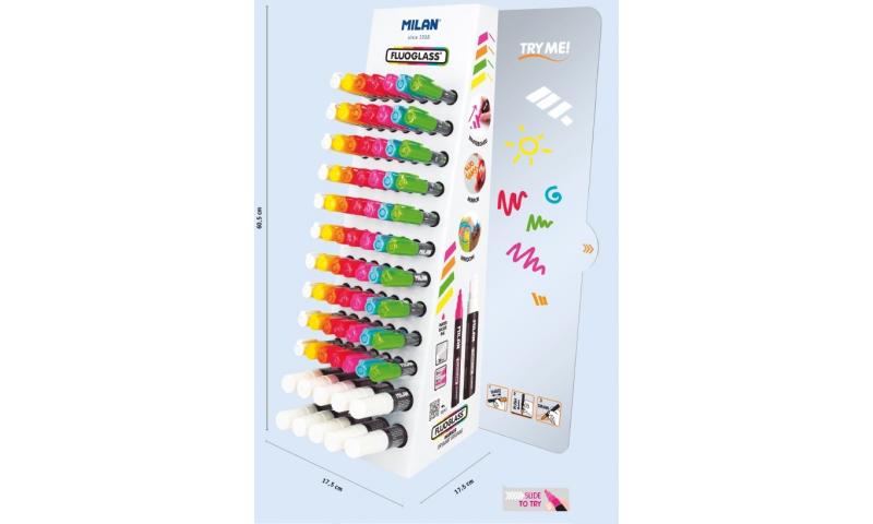 Milan FluoGlass Eraseable Window Marker Counter Display 96pcs Asstd Colours