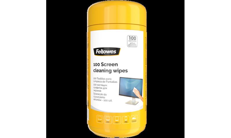 Fellowes Wet Screen Wipes - Dispenser Tub of 100 (New Lower Price for 2021)