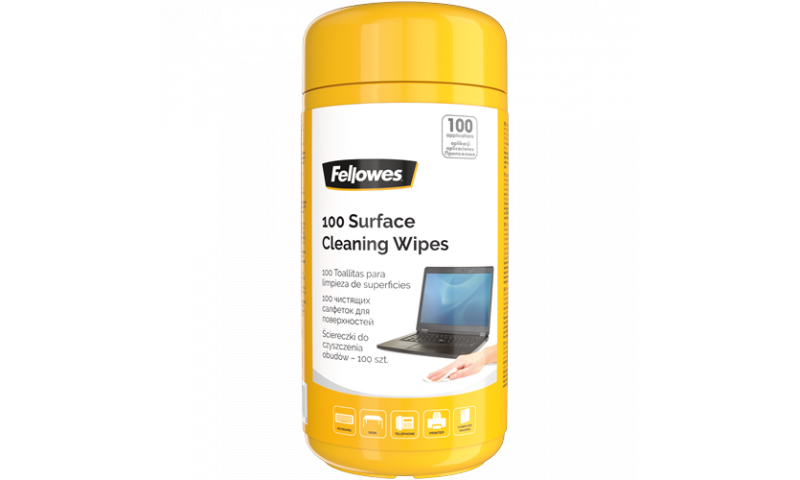 Fellowes Surface Cleaning Wipes in Dispenser tub of 100 (New Lower Price for 2021)