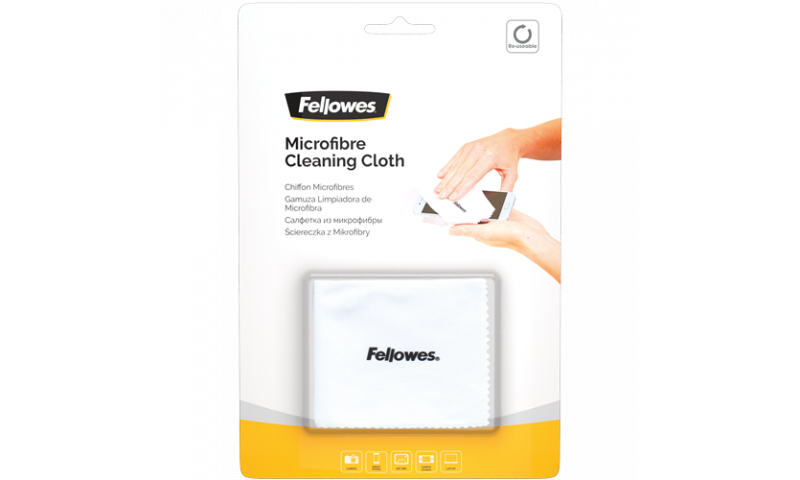 Fellowes Microfibre cleaning cloth, Hangcarded (New Lower Price for 2021)