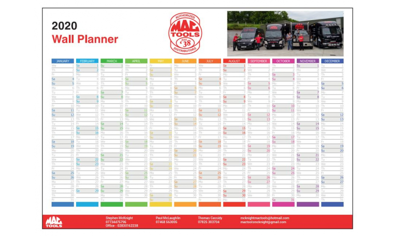 Bespoke Unmounted Year Planner A2 Printed with Full Colour
