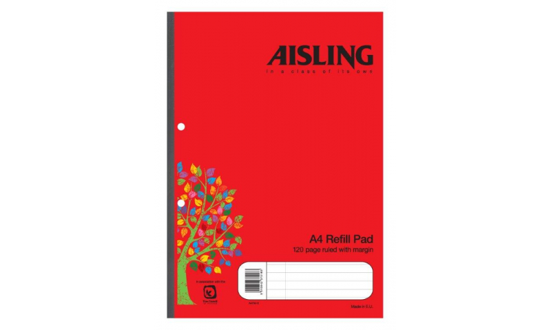 Aisling A4 Refill Pad 60 Leaf F&M, Sidebound (New Lower Price for 2021)