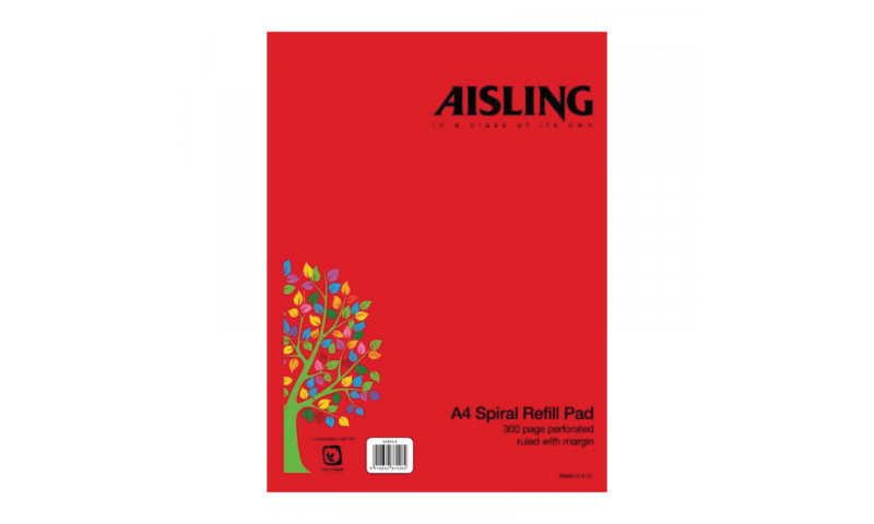 Aisling A4 Spiral Refill Pad with P/P Covers 300 Page F&M, Punched