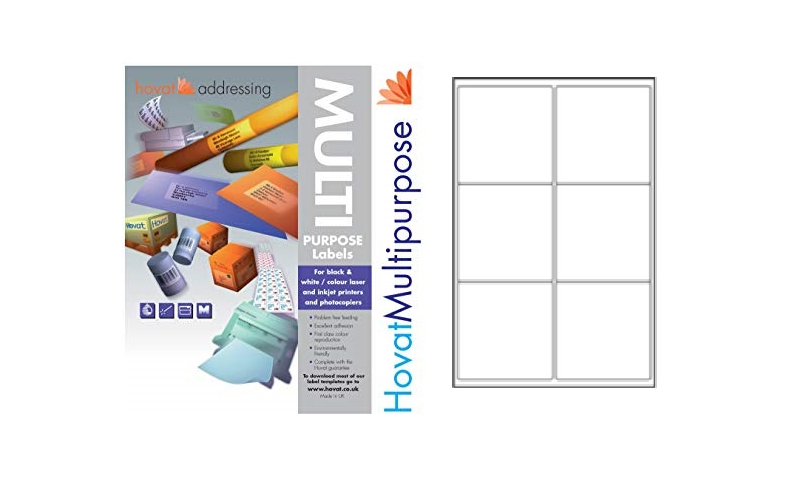Hovat Multi-Purpose Labels Heavyweight, White , 100 Sheet , 6 per sheet (99 x 94mm)