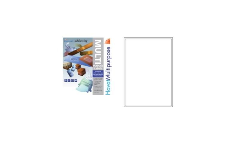 Hovat Multipurpose Labels Heavyweight, White , 100 Sheet ,1 per sheet (200 x 288mm)