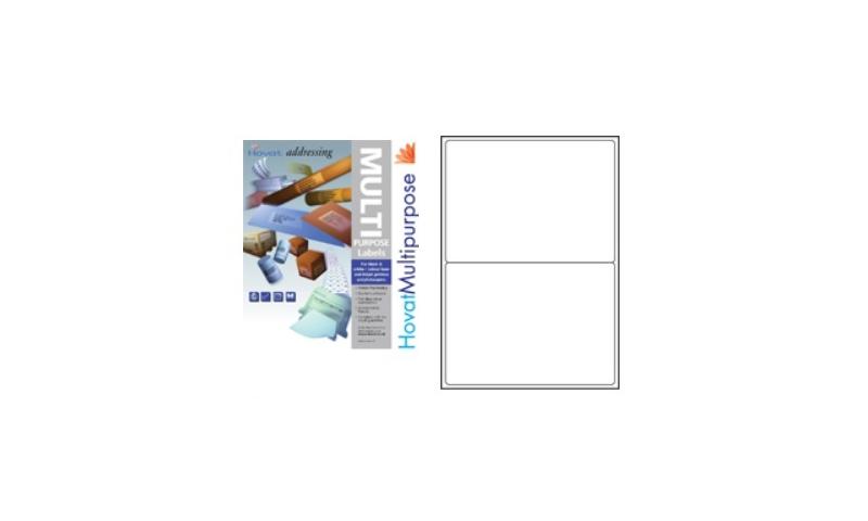 Hovat Multi-Purpose Labels Heavyweight, White , 100 Sheet , 2 per sheet (200 x 144mm)
