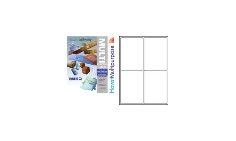 Hovat Multi-Purpose Labels Heavyweight, White , 100 Sheet , 4 per sheet (99 x 144mm