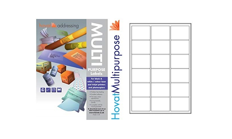Hovat Multi-Purpose Labels Heavyweight, White , 100 Sheet , 18 per sheet (64 x 47mm)