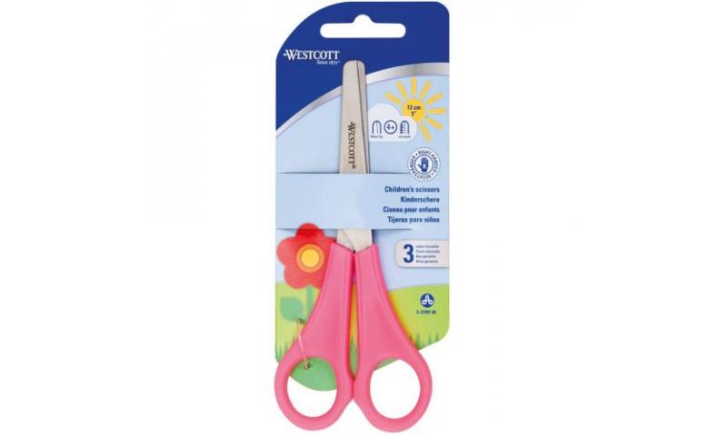 "Westcott 5"" Childs School Scissors with cm rule scale, Pink Handles"