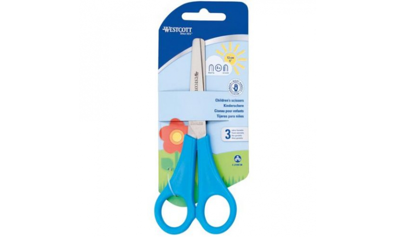 "Westcott 5"" Childs School Scissors with cm rule scale, Light Blue Handles"