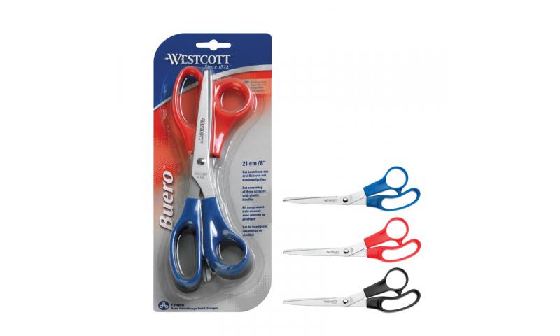 "Westcott Triple Value Pack Plastic Handled Scissors 8"", Carded"