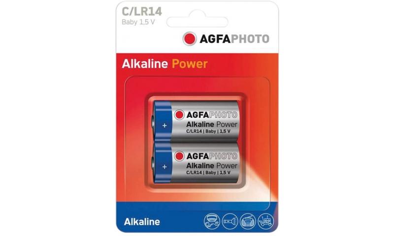 Alkaline Batteries, Size C, 2pk